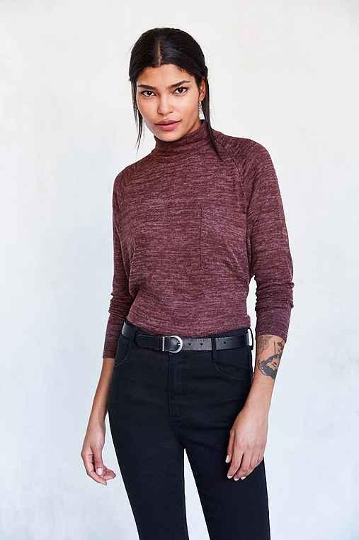 BDG Layne Marled Mock Neck Sweater,CHOCOLATE,L