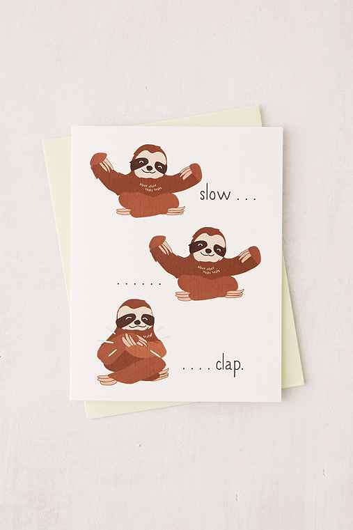 ILootPaperie Slow Clap Sloth Greeting Card,WHITE,ONE SIZE