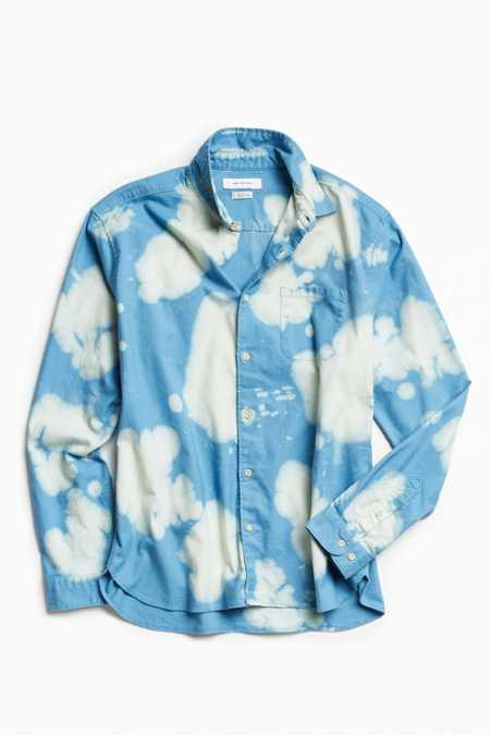 UO Bleached Fuzzy Flannel Button-Down Shirt