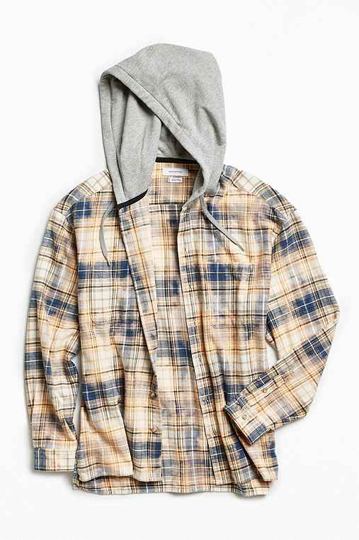 UO Bleached Hooded Flannel Button-Down Shirt,CREAM,L