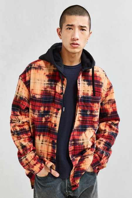 UO Bleached Hooded Flannel Button-Down Shirt