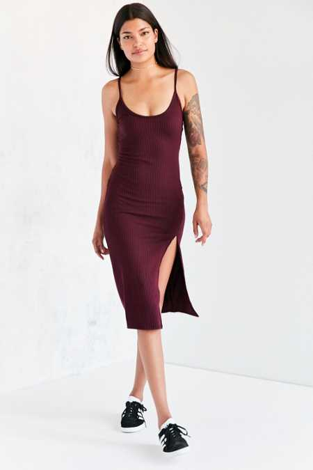 Silence + Noise Thigh-Slit Midi Slip Dress