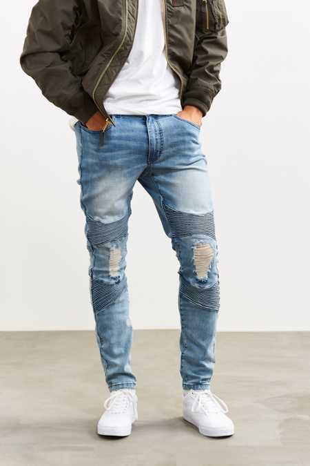 Sushi Radio Destructed Blue Skinny Moto Jean