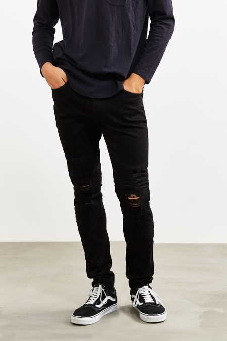 Sushi Radio Destructed Black Skinny Moto Jean