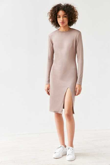 Silence + Noise Mock Neck Bodycon Midi Dress