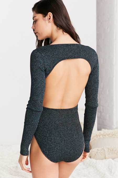 Out From Under Metallic Open Back Sweater Bodysuit