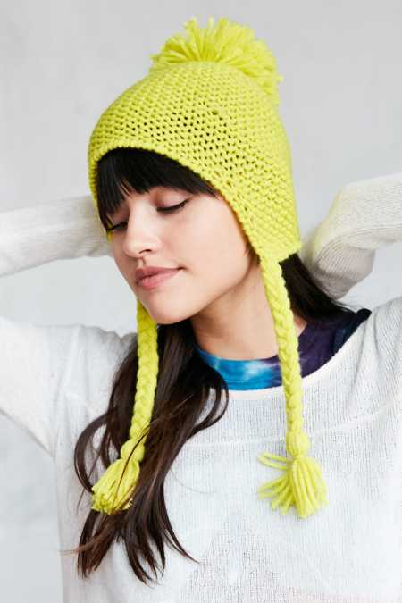 Knit Pompom Trapper Hat