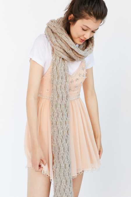 Squiggle Rib Knit Scarf
