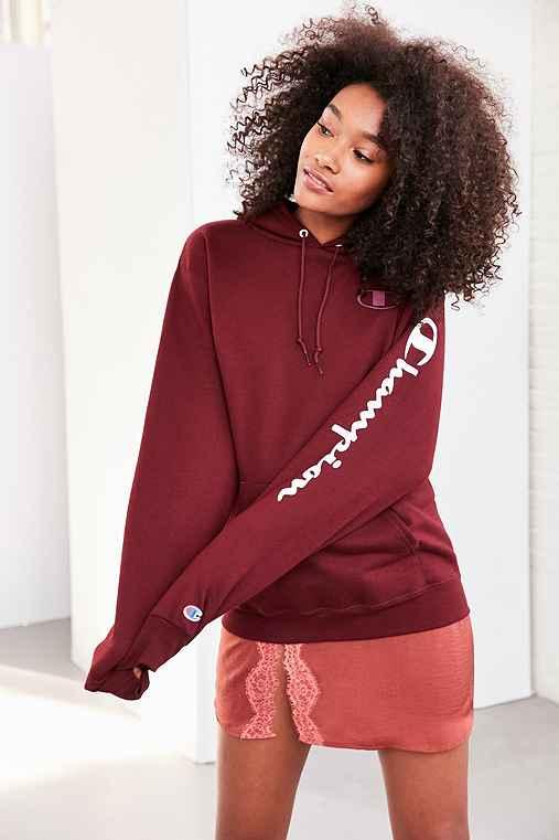Champion + UO Maroon Hoodie Sweatshirt,MAROON,XS