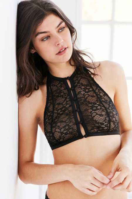 Out From Under Undone Lace Halter Bra