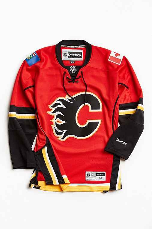 Reebok NHL Premium Flames Hockey Jersey,RED,L