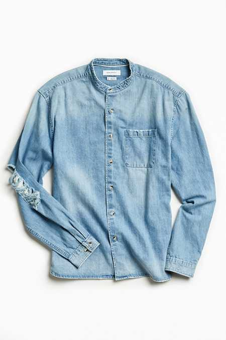 UO Damaged Denim Button-Down Shirt