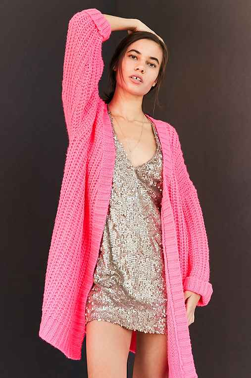 Silence + Noise Ally Neon Chunky Cardigan,PINK,ONE SIZE