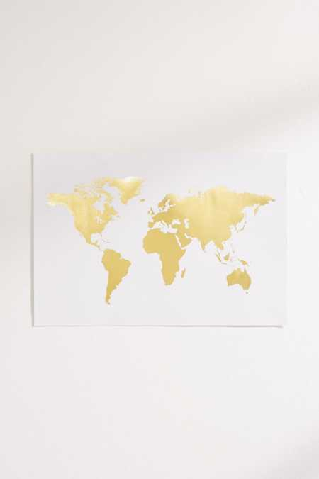 Adam's Ale Art Prints The Golden World Map Art Print