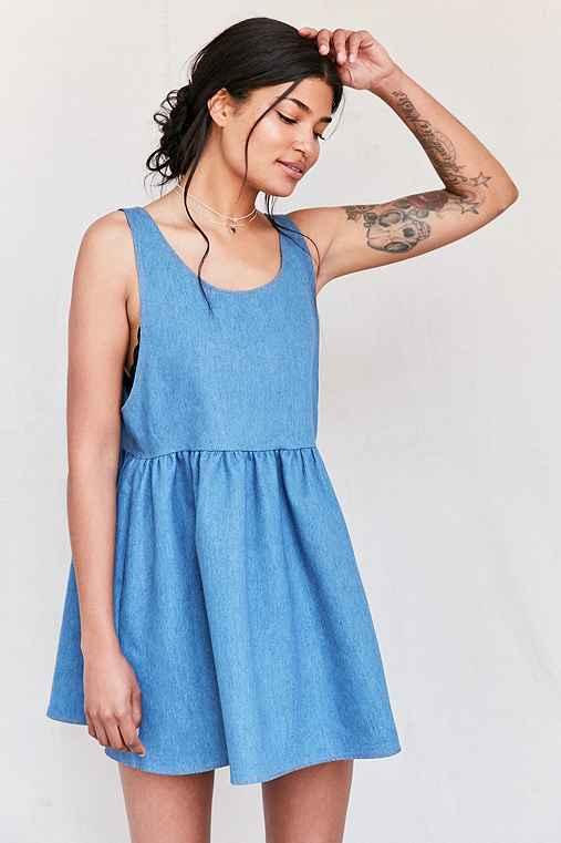 Urban Renewal Recycled Denim Babydoll Dress,INDIGO,L