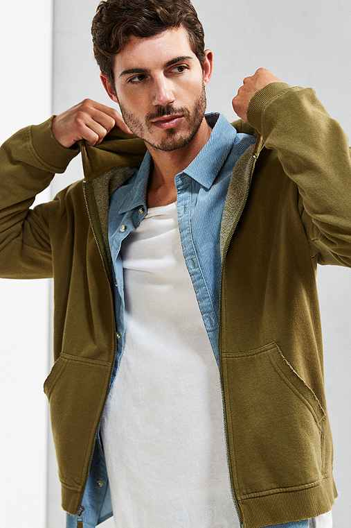 Amadeo Destroyed Full Zip Hoodie Sweatshirt,OLIVE,S