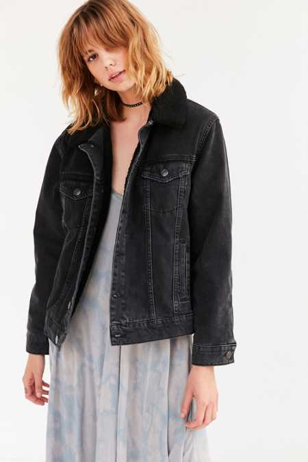 BDG Sherpa Lined Western Denim Trucker Jacket
