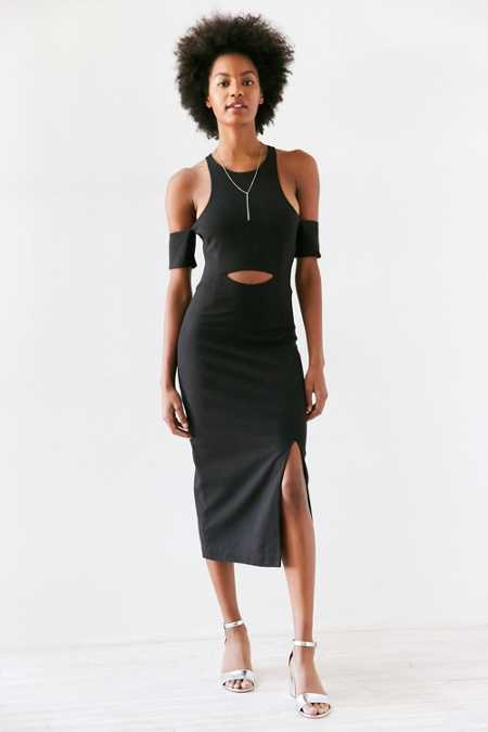 Finders Keepers Leon Cutout Cold Shoulder Bodycon Midi Dress