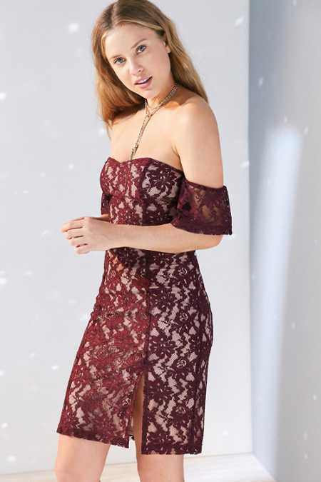 J.O.A. Off-The-Shoulder Lace Mini Dress