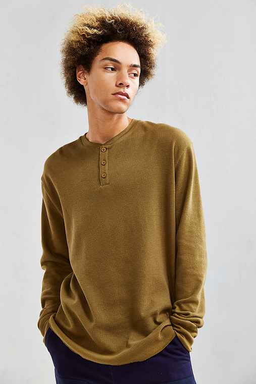 UO Nelson Waffle Thermal Henley Long Sleeve Tee,OLIVE,S