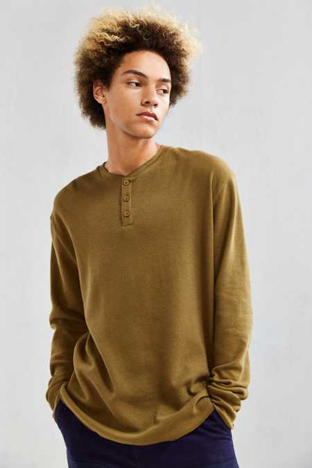 UO Nelson Waffle Thermal Henley Long Sleeve Tee