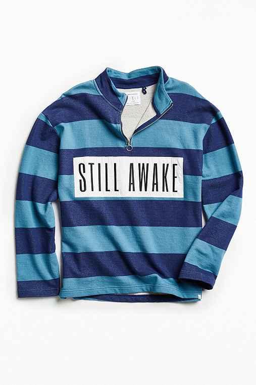 UO Still Awake Half-Zip Mock Neck Sweatshirt,NAVY,M