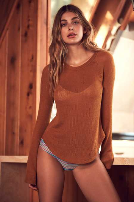 Out From Under Sheer Thermal Long Sleeve Crew Top