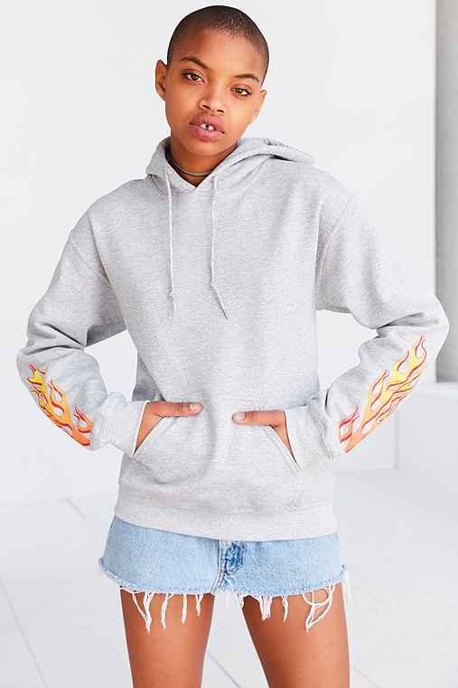 Silence + Noise Flame Hoodie Sweatshirt,GREY,S
