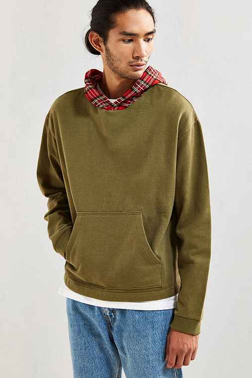 UO Boxy Fit Hoodie Sweatshirt,OLIVE,XL