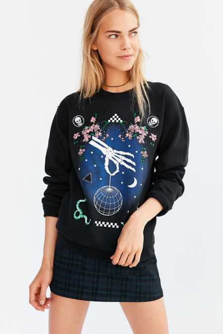 Silence + Noise Skeleton Disco Pullover Sweatshirt