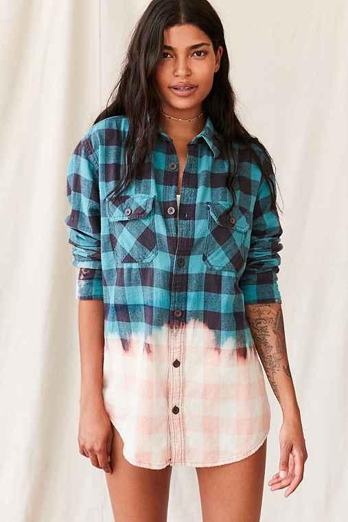 Vintage Bleach Dipped Flannel Top,BLUE,M