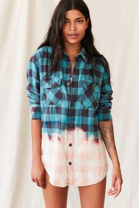 Vintage Bleach Dipped Flannel Top