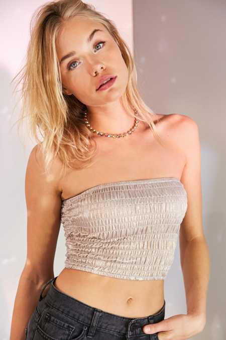 Ecote Camille Metallic Shimmer Strapless Tube Top