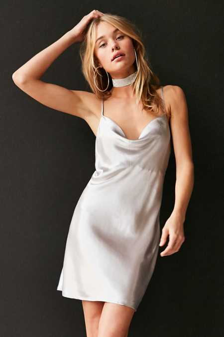 Bardot Mercury Satin Cowl-Neck Mini Slip Dress