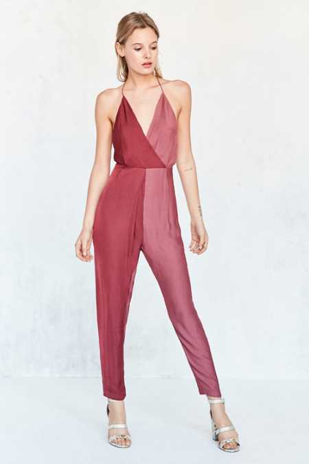 Silence + Noise Sweet And Salty Satin Colorblock Jumpsuit