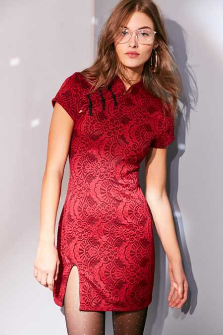 Ecote Band Collar Lace Bodycon Mini Dress