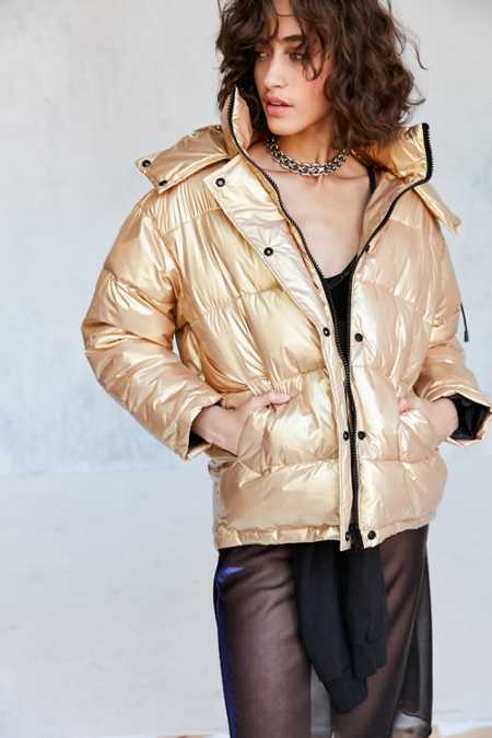 Light Before Dark Ramola Metallic Puffer Jacket
