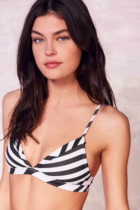 Out From Under Variegated Stripe Triangle Bikini Top