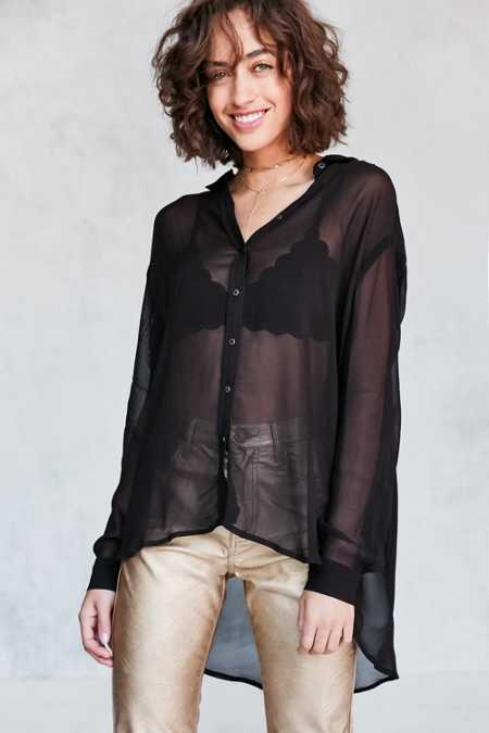 Silence + Noise Ace Sheer High/Low Button-Down Shirt