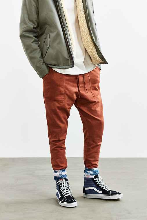 UO Ribbed Stacked Skinny Knit Pant,ORANGE,M