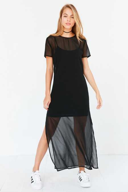 Silence + Noise Layered Mesh Maxi Slip Dress