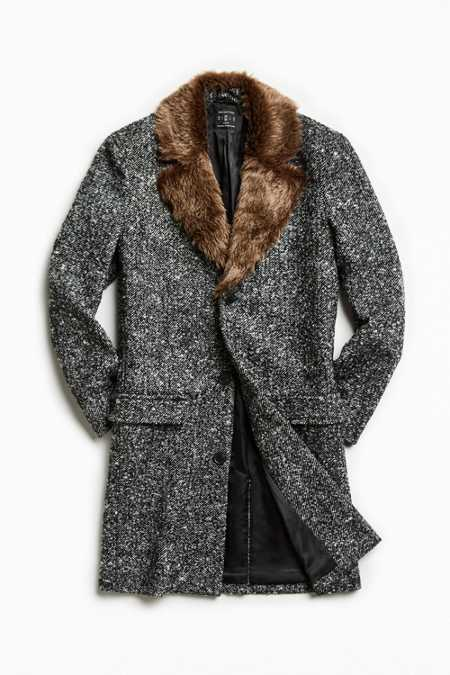 UO Faux Fur Trim Lapel Top Coat