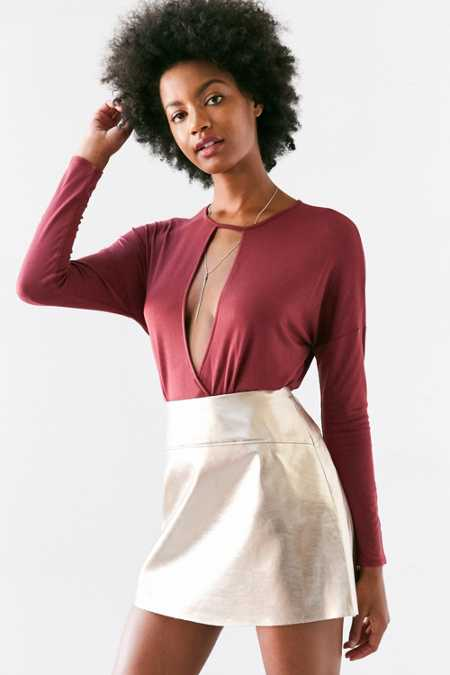 Silence + Noise Mia Plunging Cutout Surplice Top