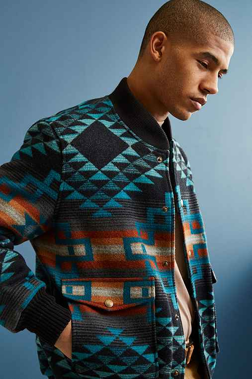 Pendleton Gorge Wool Bomber Jacket,BLUE MULTI,S
