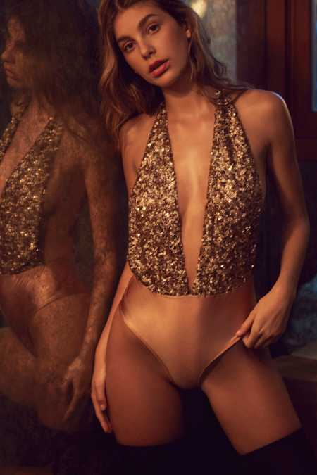 Out From Under Sequin Super Plunge Bodysuit
