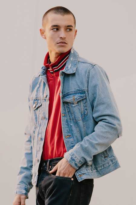 UO Damaged Denim Trucker Jacket