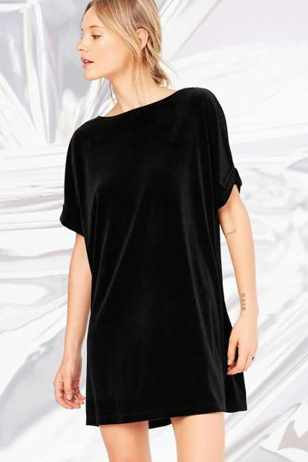 Silence + Noise Velvet Boat-Neck Mini Dress
