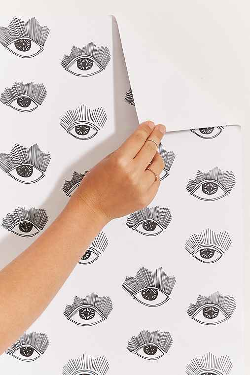 Chasing Paper And Kate Zaremba Bright Eyes Removable Wallpaper,BLACK & WHITE,ONE SIZE