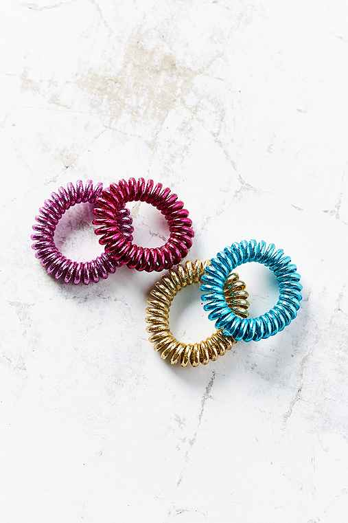 Telephone Cord Hair Tie Set,MULTI,ONE SIZE