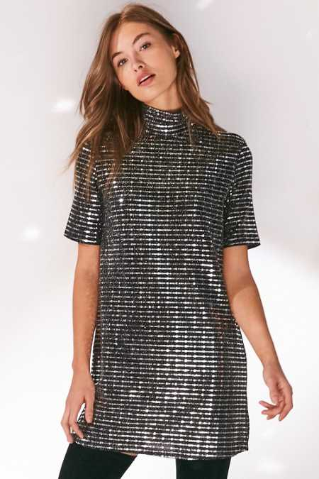 Oh My Love Sparkle Stripe Mock Neck T-Shirt Dress